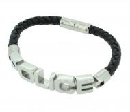 POLICE Herren Armband PJ23873BLB-01-L Leder schwarz
