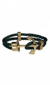 HAFEN-KLUNKER Anker Armband 107756 Edelstahl Textil dunkelgrün gold