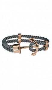 HAFEN-KLUNKER Anker Armband 107757 Edelstahl Textil grau rosegold