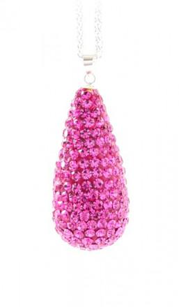 Crystal Line Anhänger TPAH111SW Tropfen Silber pink