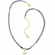HAFEN-KLUNKER Choker Halskette Anker 108192 Textil Edelstahl Blau Gold