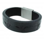 POLICE Herren Armband PJ23877BLB-01-S Leder schwarz glanz