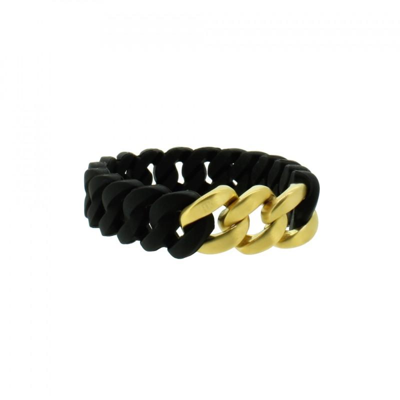 HANSE-KLUNKER MINI Damen Armband 107963 Edelstahl schwarz gold matt