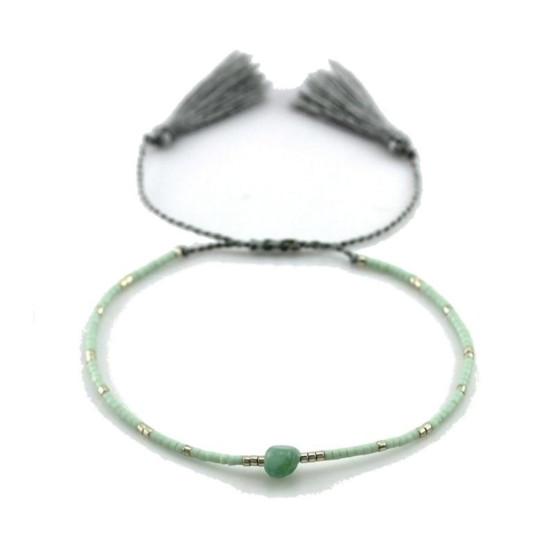PEARL BAY Perlenarmband Quaste 110481 Miyuki Naturstein grau silber