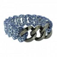 HANSE-KLUNKER ORIGINAL Damen Armband 107403 Edelstahl leopard jeans gun metal