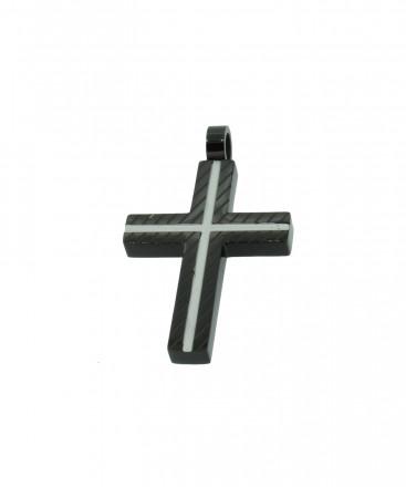 Grey Kreuz Anhänger GAH005 Black Edelstahl schwarz silber