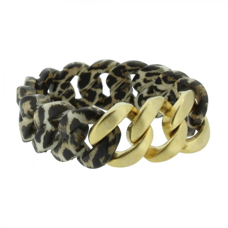 HANSE-KLUNKER ORIGINAL Damen Armband 107036 Edelstahl leopard gold matt