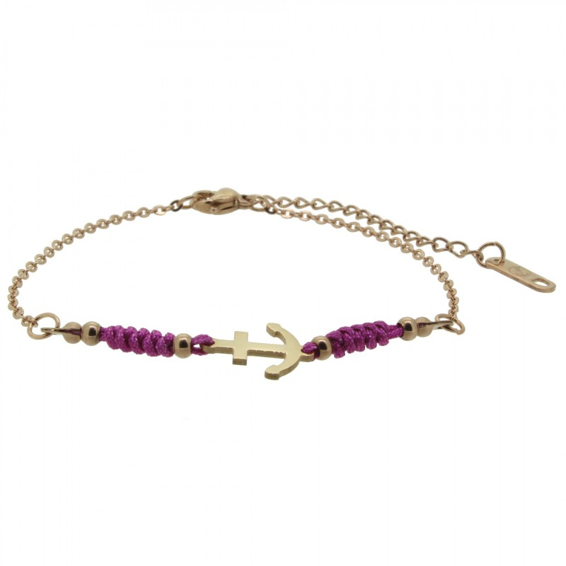 HAFEN-KLUNKER HARMONY Anker Armband 110418 Textil Edelstahl Fuchsia Rosegold