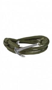 HAFEN-KLUNKER Wickelarmband Anker 107670 Edelstahl Textil khaki silber