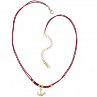 HAFEN-KLUNKER Choker Halskette Anker 108190 Textil Edelstahl Rot Rosegold