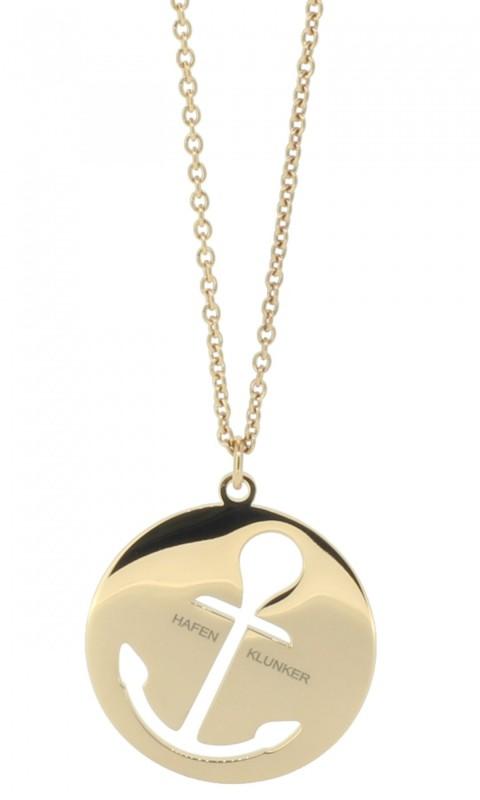 HAFEN-KLUNKER Glamour Collection Halskette Anker 108054 Edelstahl Anker ausgestanzt rund groß rosegold