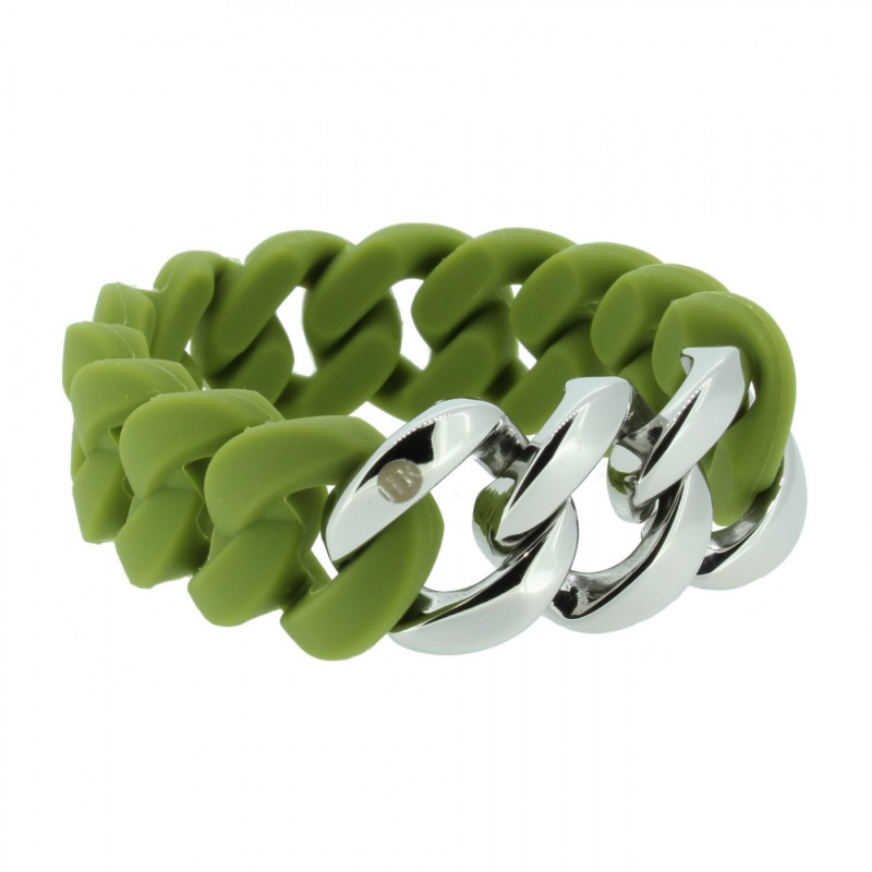 HANSE-KLUNKER ORIGINAL Damen Armband 107018 Edelstahl oliv silber