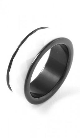 Grey Ring 100038 Edelstahl Keramik schwarz weiss