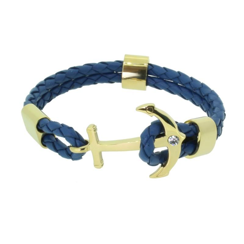 HAFEN-KLUNKER Anker Armband 110497 Edelstahl Leder Zirkonia Blau Gold