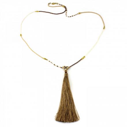 PEARL BAY Damen Perlenkette 107618 Quaste Miyuki Kristall braun beige gold