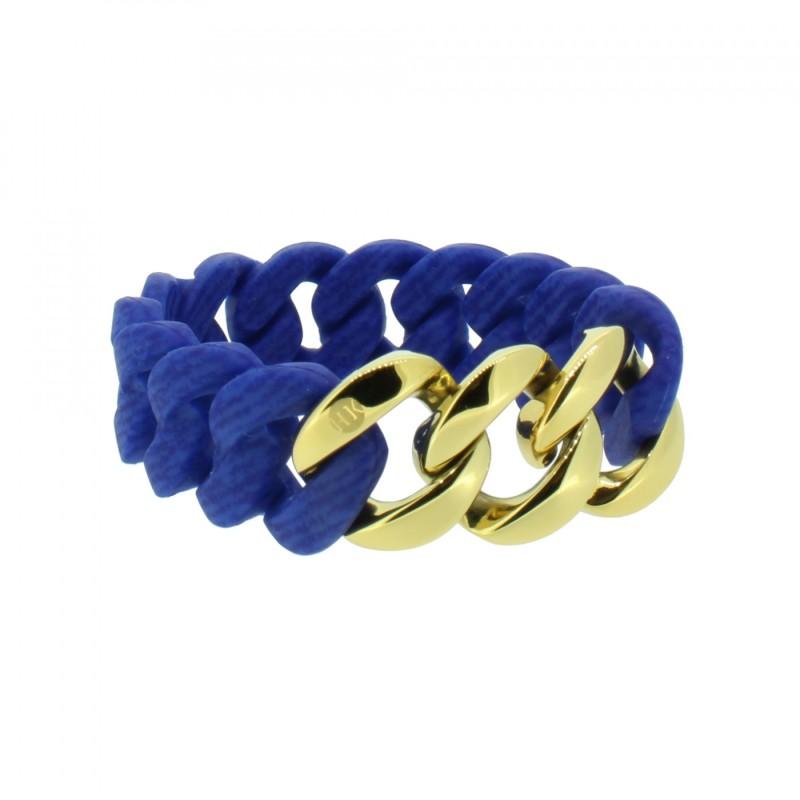 HANSE-KLUNKER ORIGINAL Damen Armband 107958 Edelstahl jeans marine blau gold