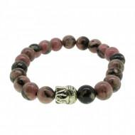 Silverart Buddha Armband 107872 FAB008 Rhodonit rosa braun Metal nickelfrei versilbert