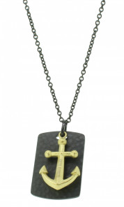 HAFEN-KLUNKER Halskette Anker Pendant 107990 Edelstahl schwarz gold matt