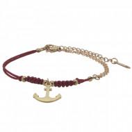 HAFEN-KLUNKER Anker Armband 108175 Textil Edelstahl Rot Rosegold