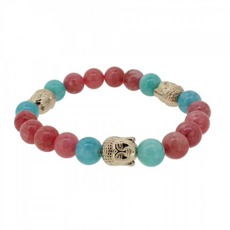 Silverart Buddha Armband 108103 FAB087 Achat rot türkis Metal nickelfrei rosegold