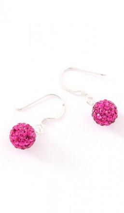 Crystal Line Ohrhänger TPOR106SW Kugel klein Silber pink