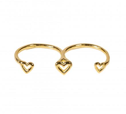 SilverArt Collection Ring Herz SR002-G Silber rhodiniert gold