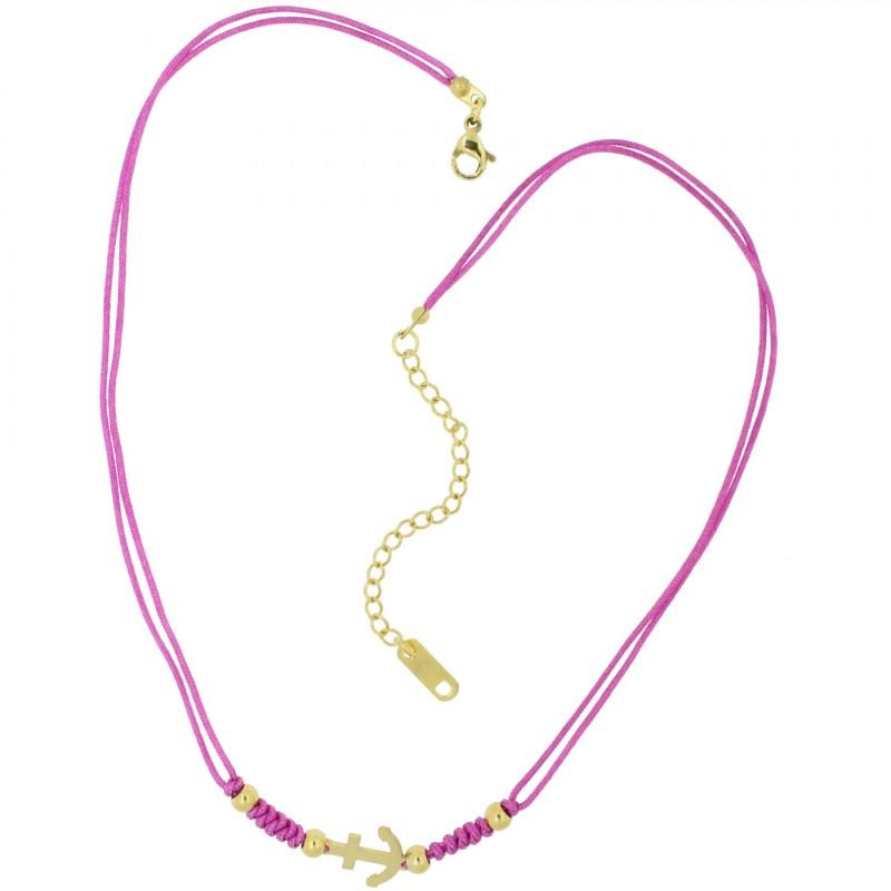 HAFEN-KLUNKER HARMONY Choker Halskette Anker 110432 Textil Edelstahl Fuchsia Gold