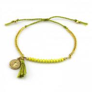 PEARL BAY Perlenarmband 107562 Quaste Amulett Kristall Metall grün gold gelb