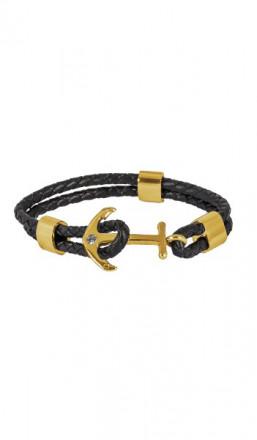HAFEN-KLUNKER Anker Armband 107682 Edelstahl Leder Zirkonia schwarz gold
