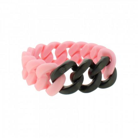 HANSE-KLUNKER ORIGINAL Damen Armband 107945 Edelstahl lachs schwarz matt
