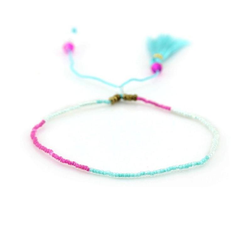 PEARL BAY Perlenarmband Quaste 110478 Metall und Naturstein türkis weiß pink