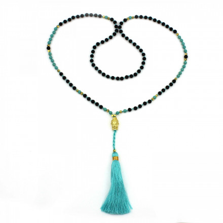 PEARL BAY Damen Perlenkette 107599 Quaste Metall Buddha Lava Stein gold türkis schwarz