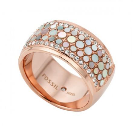 FOSSIL Ring VINTAGE GLITZ JF01742791-9 Gr. 60 Edelstahl roségold