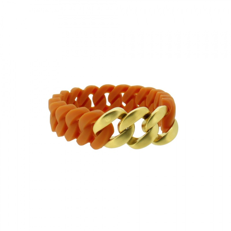 HANSE-KLUNKER MINI Damen Armband 107979 Edelstahl hellbraun gold matt