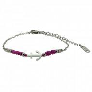 HAFEN-KLUNKER Anker Armband 108179 Textil Edelstahl Fuchsia Silber
