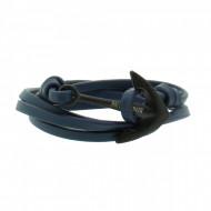 HAFEN-KLUNKER Wickelarmband Anker 107985 Edelstahl Leder blau schwarz