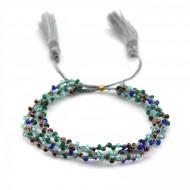 PEARL BAY Perlenarmband geflochten 107568 Quaste grau blau grün
