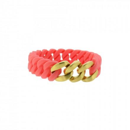HANSE-KLUNKER MINI Damen Armband 107712 Edelstahl koralle gold matt