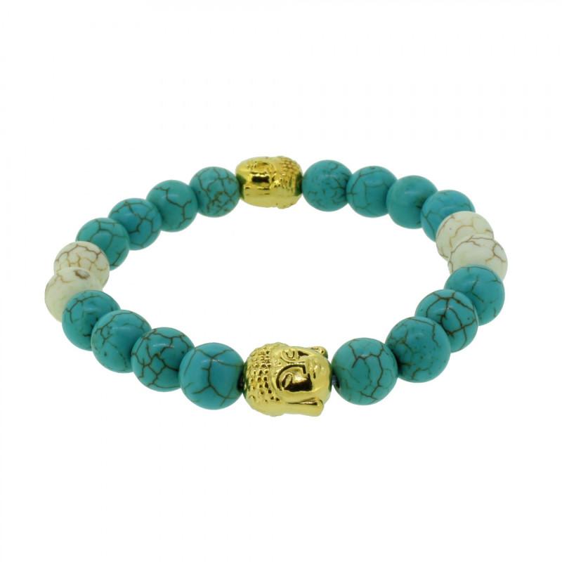Silverart Buddha Armband 108100 FAB085 Türkis türkis weiß Metal nickelfrei vergoldet
