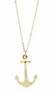 HAFEN-KLUNKER Glamour Collection Halskette Anker 108042 Edelstahl Anker mit Zirkonia rosegold