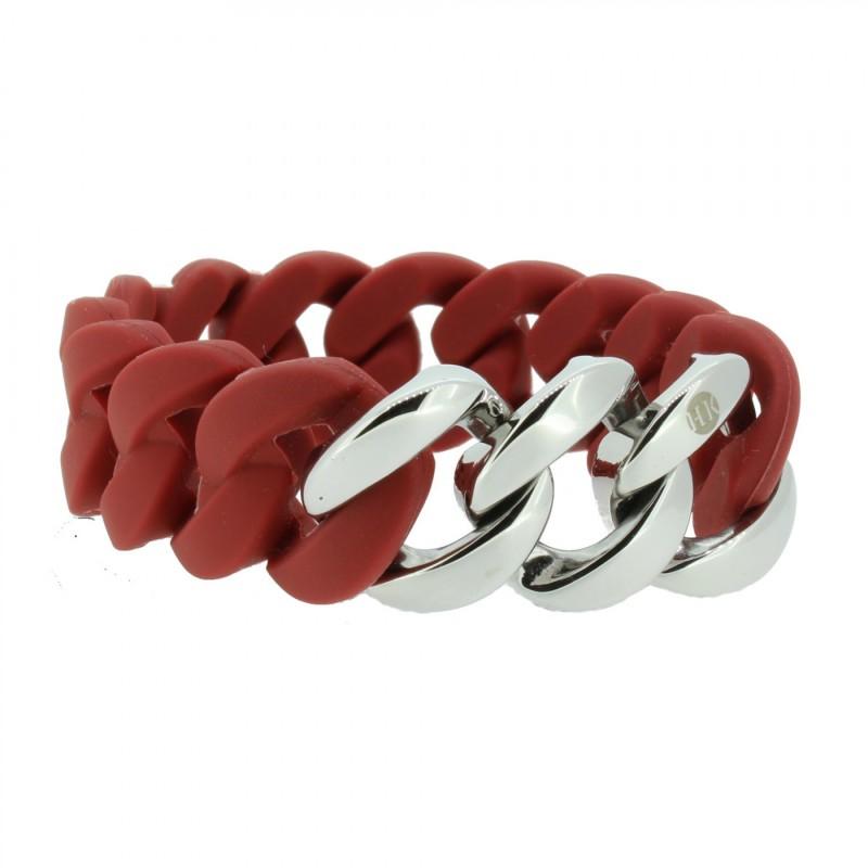 HANSE-KLUNKER ORIGINAL Damen Armband 106785 Edelstahl Marsala rot silber