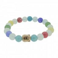Silverart Buddha Armband 108085 FAB078 Aquamarin Achat Honig-Jade und Aventurin bunt Metal nickelfre