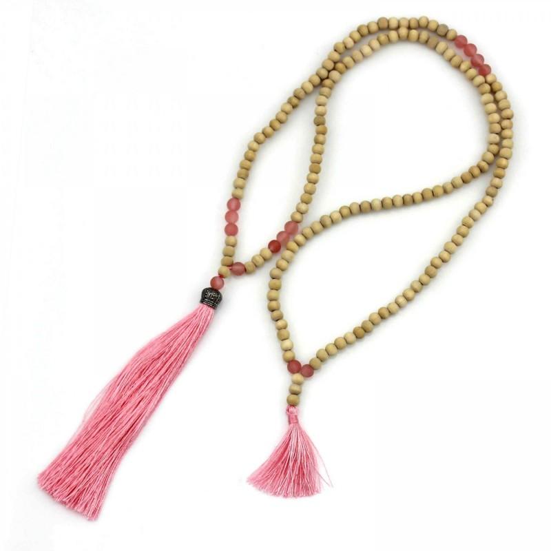 PEARL BAY Damen Perlenkette 107614 Quaste Krone Holz Stein rosa beige