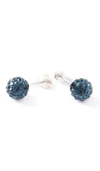 Crystal Line Ohrstecker TPOR101SW Kugel groß Silber blau