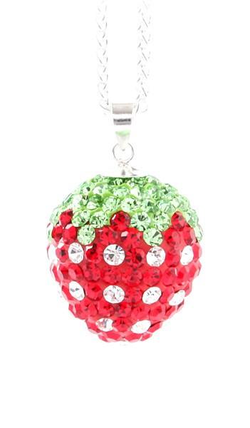 Crystal Line Anhänger TPAH113SW Erdbeere Silber rot grün