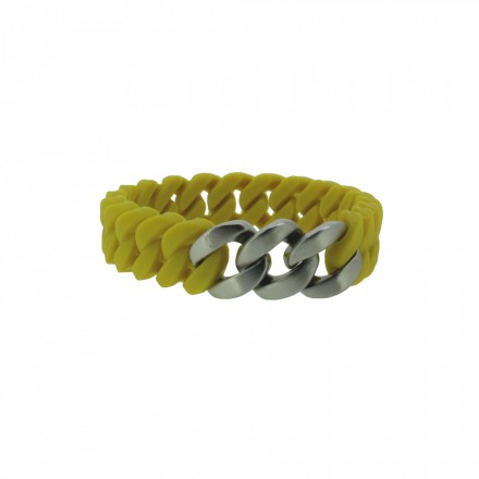 HANSE-KLUNKER MINI Damen Armband 107713 Edelstahl senf gelb silber matt