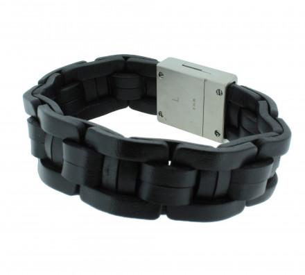 POLICE Herren Armband PJ24183BLB-01-L Leder schwarz