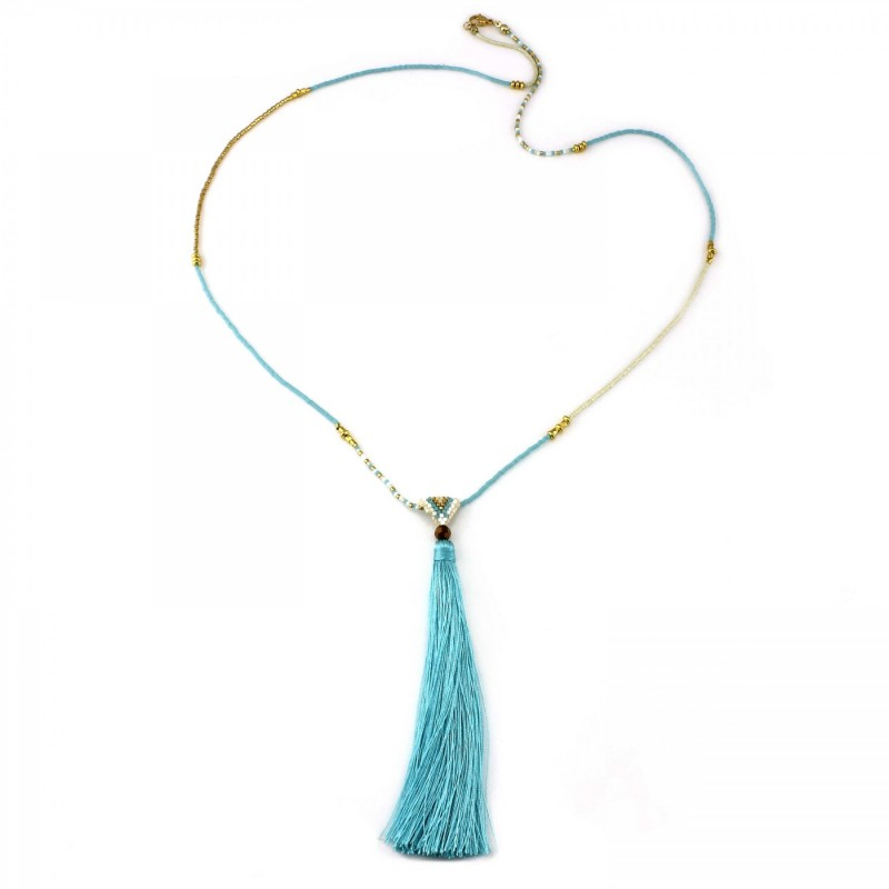 PEARL BAY Damen Perlenkette 107621 Quaste Miyuki Kristall türkis gold
