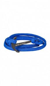 HAFEN-KLUNKER Wickelarmband Anker 107665 Edelstahl Textil blau schwarz matt