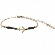 HAFEN-KLUNKER Anker Armband 108187 Textil Edelstahl Schwarz Rosegold